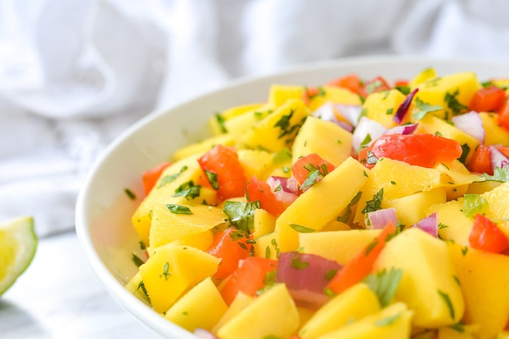 closeup of mango salsa