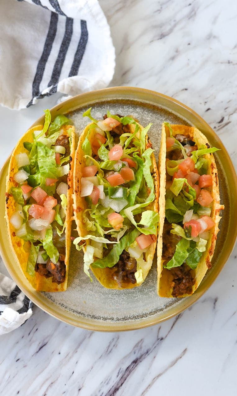 overhead shot of baked tacos