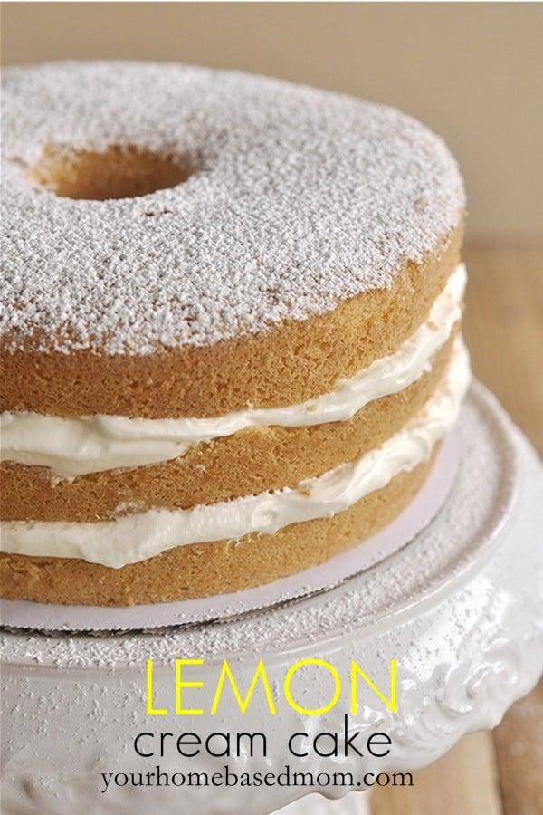 lemon cream cake on a cake stand