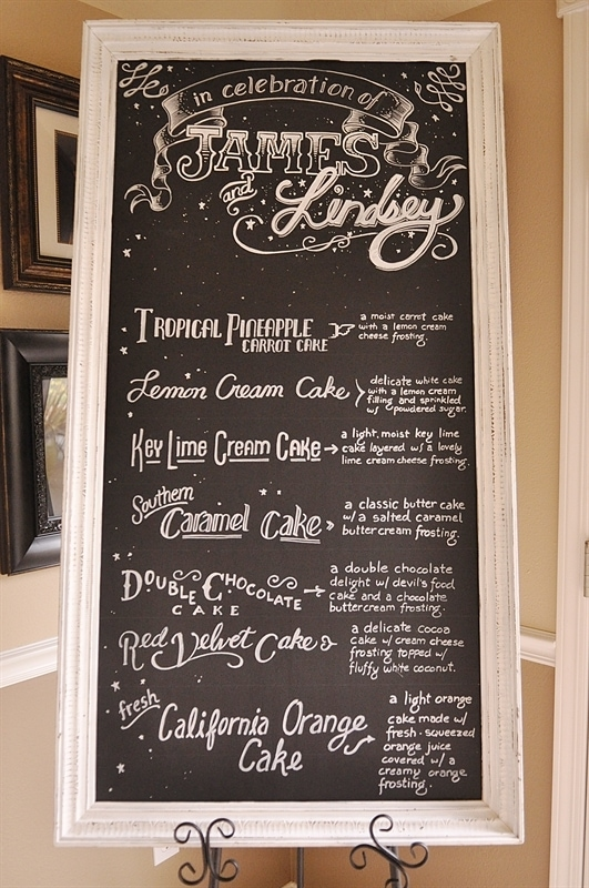 Cake Buffet menu
