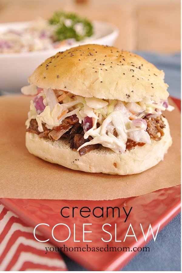 creamy coleslaw on a bbq sandwhich