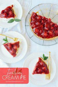 Slices of strawberry cream pie on plates