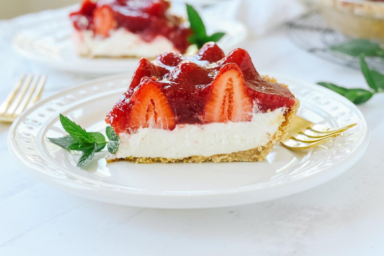 slice of strawberry cream pie
