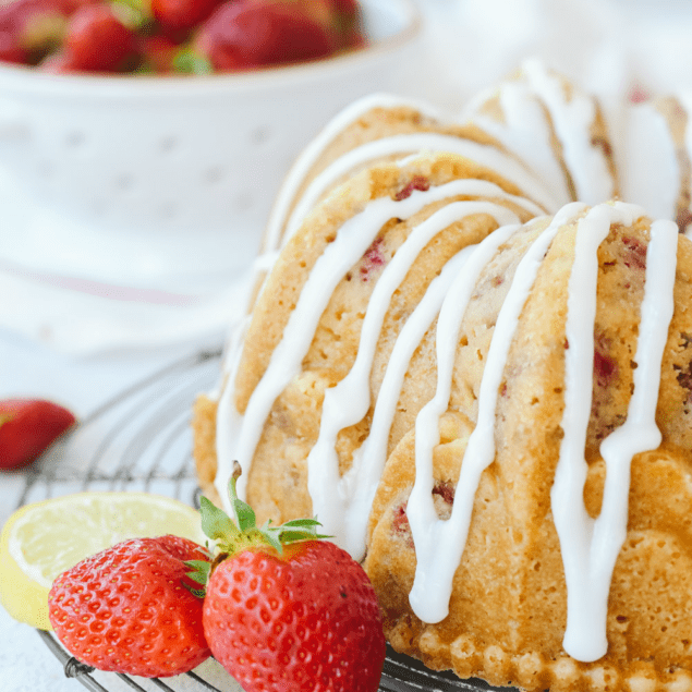 Strawberry sour cream bundt cake with glaze