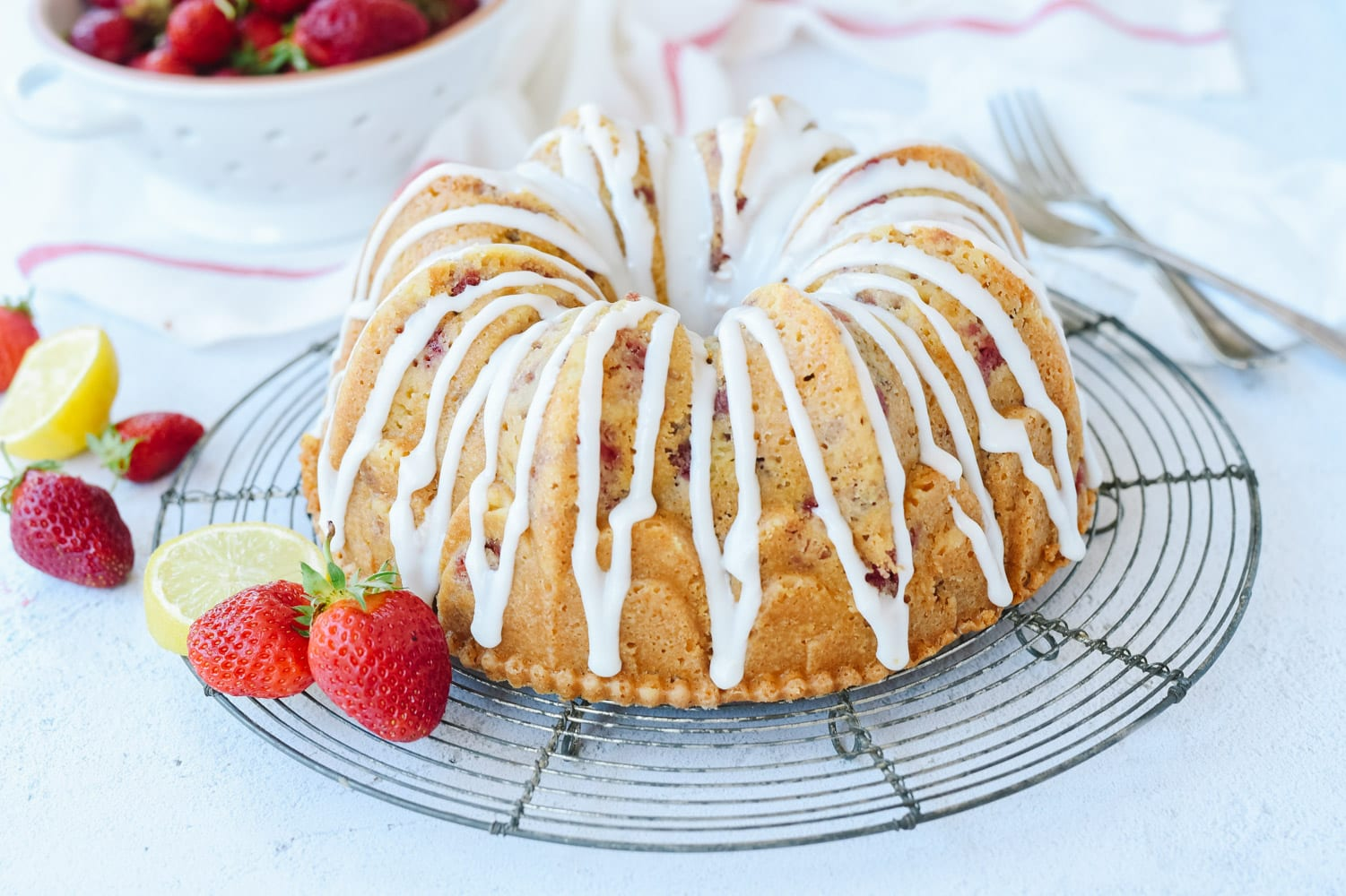 Lemon Strawberry Sour Cream Cake