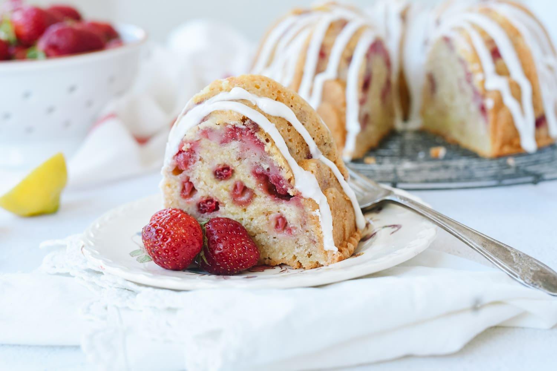 A slice of Strawberry Sour Cream Cake