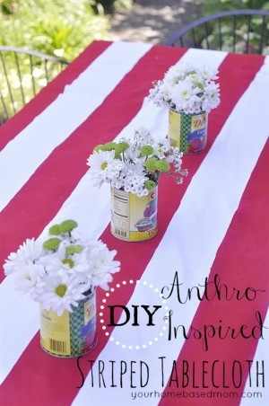 DIY Anthro Inspired Red and White Striped Tablecloth