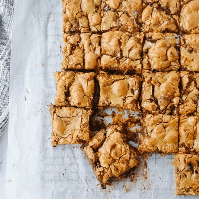 Squares of butterscotch brownies