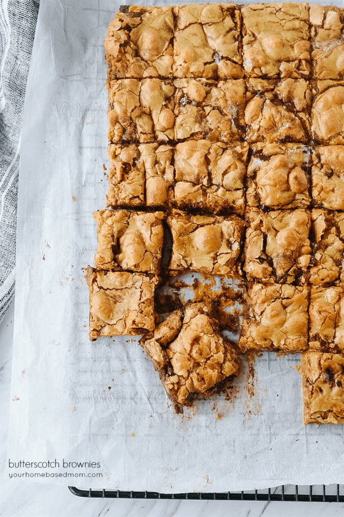 Butterscotch brownies on a cooling rack
