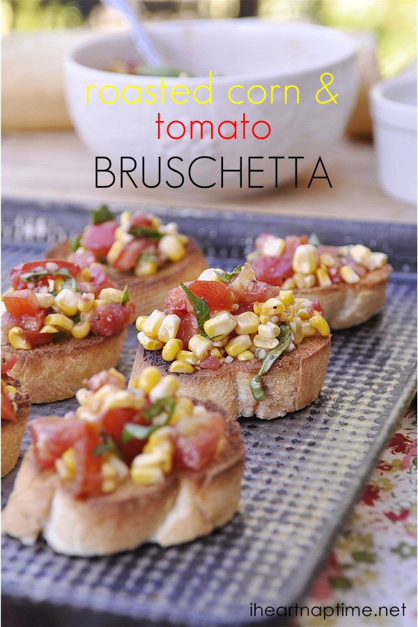 Roasted Corn & Tomato Bruschetta@Your Homebased Mom