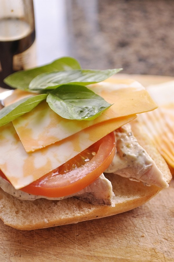 Chicken Caprese Sandwich with pesto