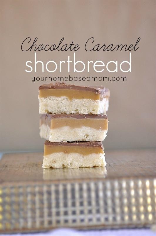 Chocolate Caramel Shortbread  | yourhomebasedmom.com