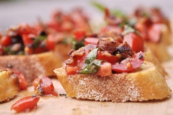 closeup of bacon bruschetta