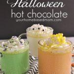 3 mugs of halloween hot chocolate