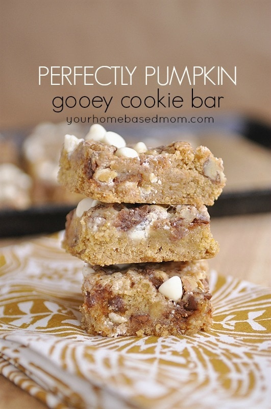 three stacked pumpkin magic bars