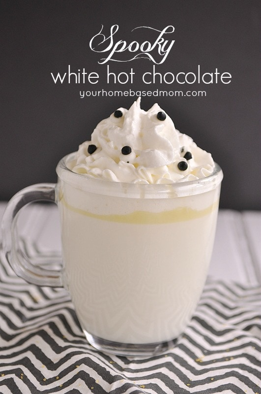 spooky white hot chocolate with edible eyes