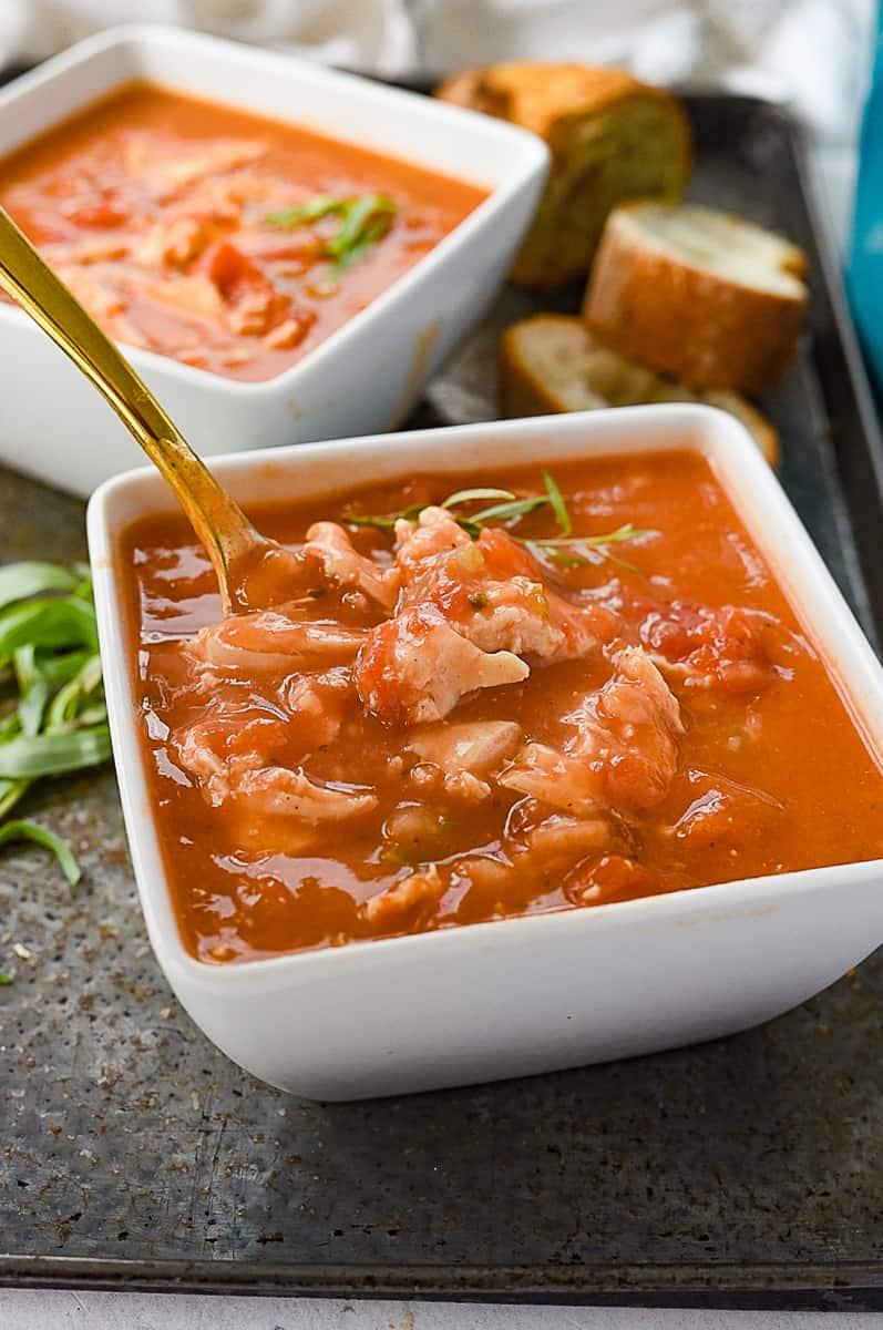 bowl of tarragon chicken soup