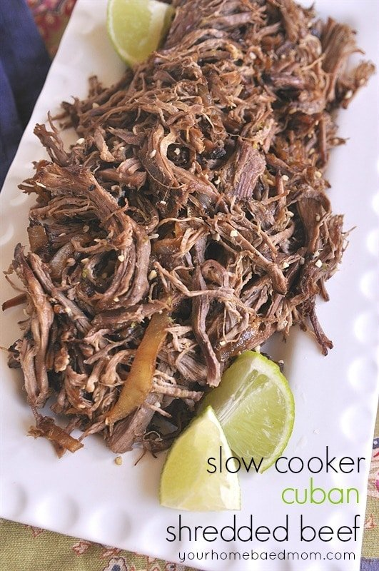 Slow Cooker Cuban Shredded Beef Tacos