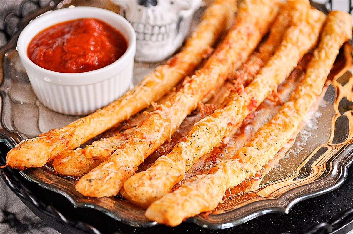 closeup of bony breadsticks