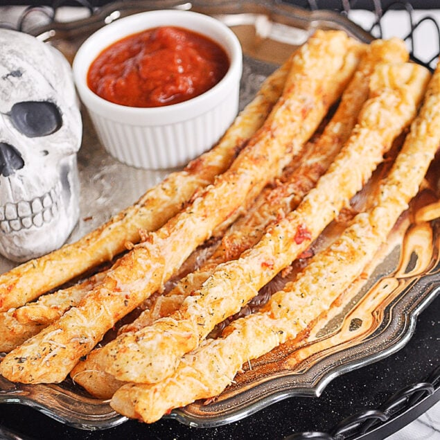 plate of Halloween breadsticks