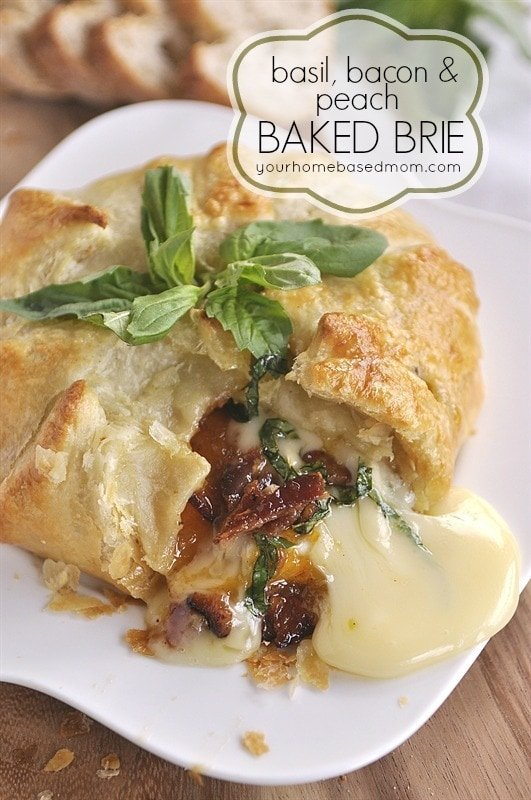 Basil, Bacon & Peach Brie