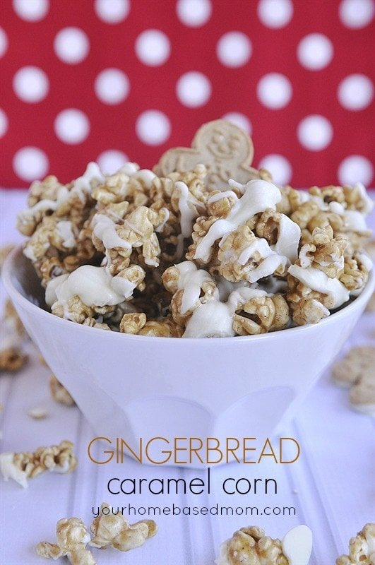 a bowl of gingerbread caramel corn