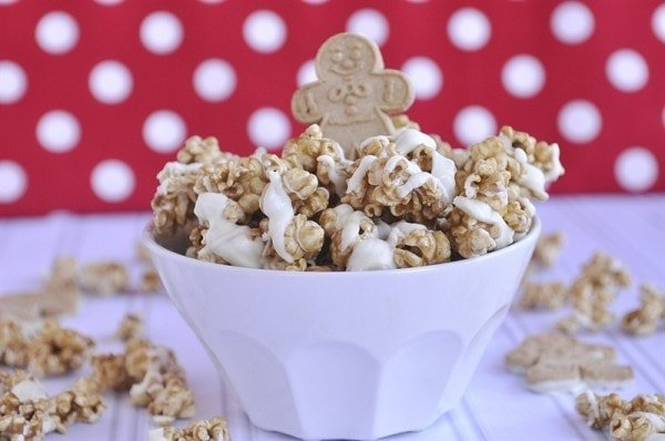 Gingerbread Caramel Corn in a bowl