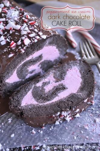 Chocolate Peppermint Ice Cream Roll Cake