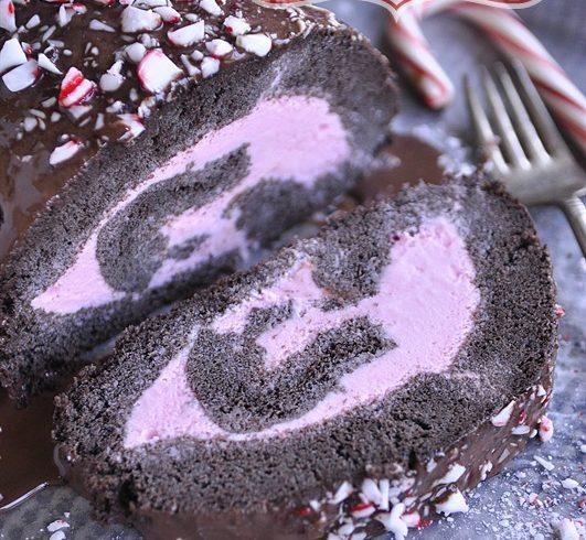Peppermint Ice Cream Dark Chocolate Cake Roll