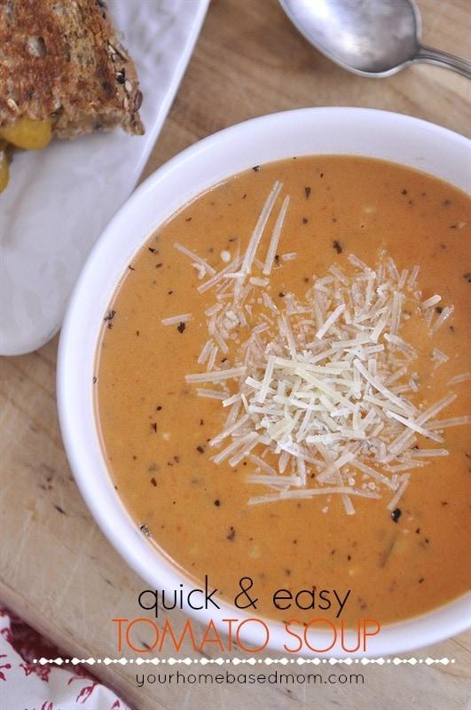 Quick & Easy Tomato Soup @yourhomebasedmom.com