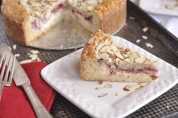 slices of raspberry cream cheese coffee cake