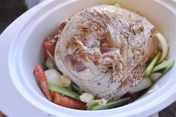 turkey breast in a slow cooker with vegetables
