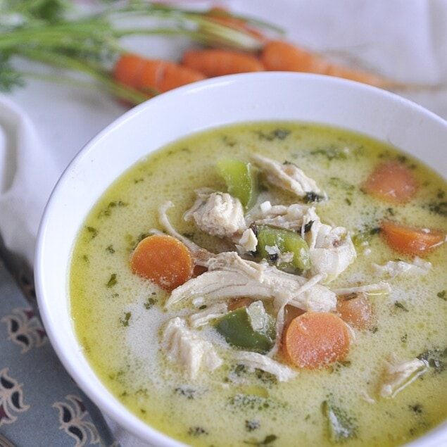 bowl of turkey bisque soup