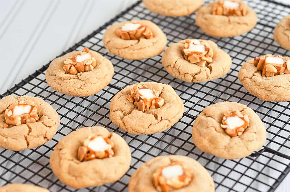peanut blossoms on a cooling rack