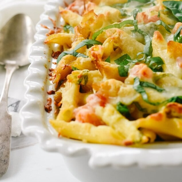 baked pasta in white dish