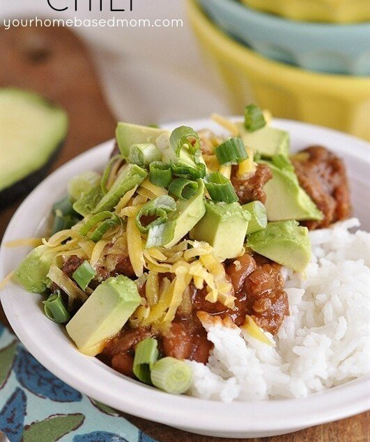 chili over rice in a bowl
