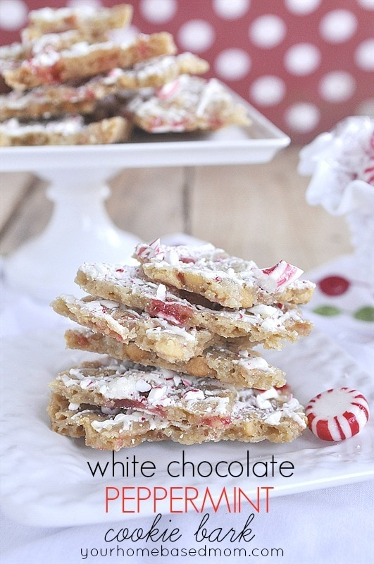 White Chocolate Peppermint Cookie Bark