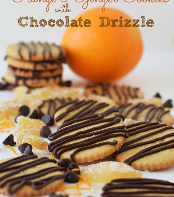 orange ginger cookies that are drizzled with chocolate