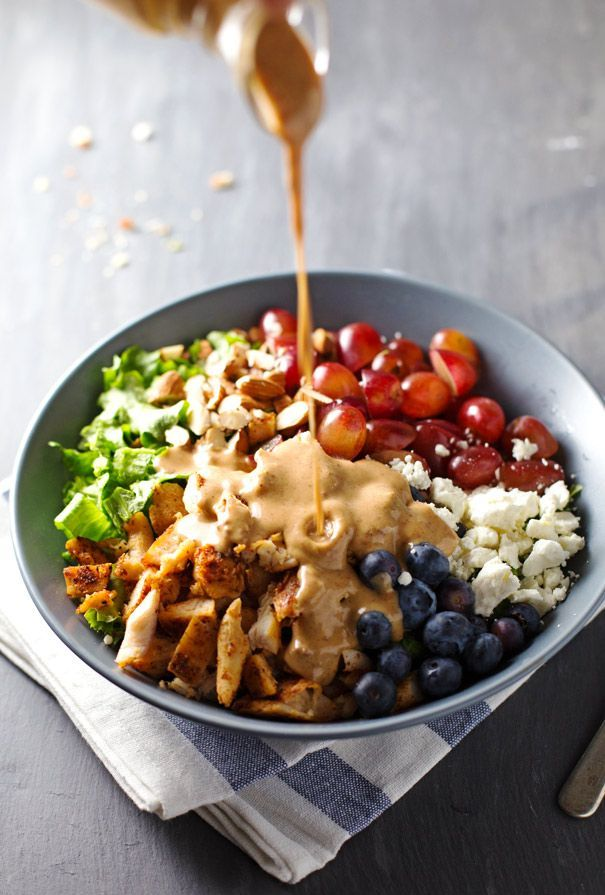 Rainbow Chicken Salad with Almond Honey Mustard Dressing