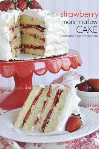 Strawberry Marshmallow Cake - your homebased mom