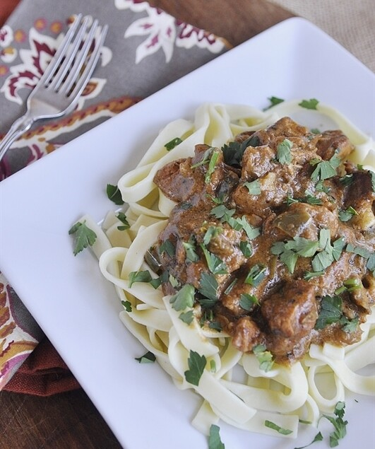 plate of chicken paprikish