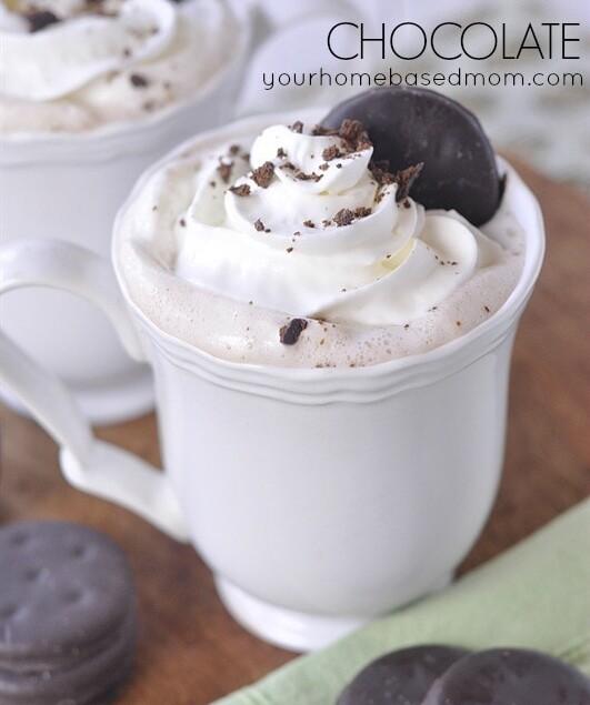 white mug of mint hot chocolate