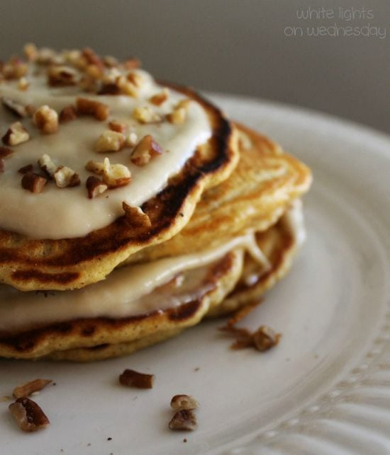 Carrot Cake Pancakes with Maple-Cream Cheese Drizzle
