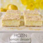 slices of frozen lemon dessert on a cake stand