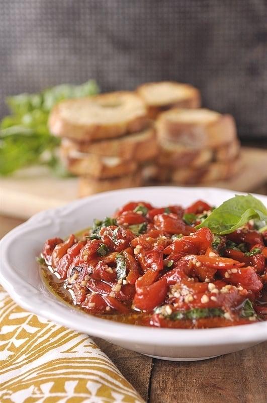Roasted Red Pepper Bruschetta