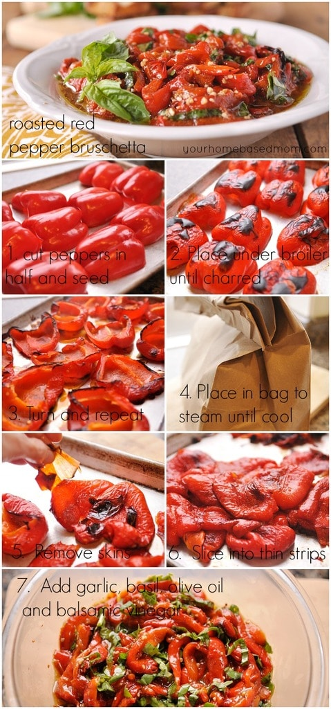 how to make Roasted Red Pepper Bruschetta