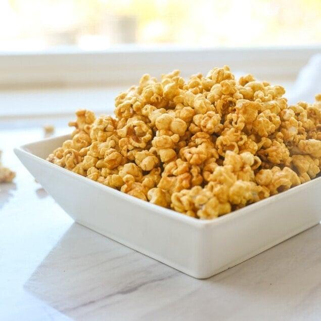 square white bowl of popcorn