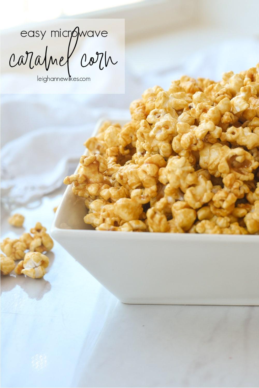 close up of a bowl of caramel corn