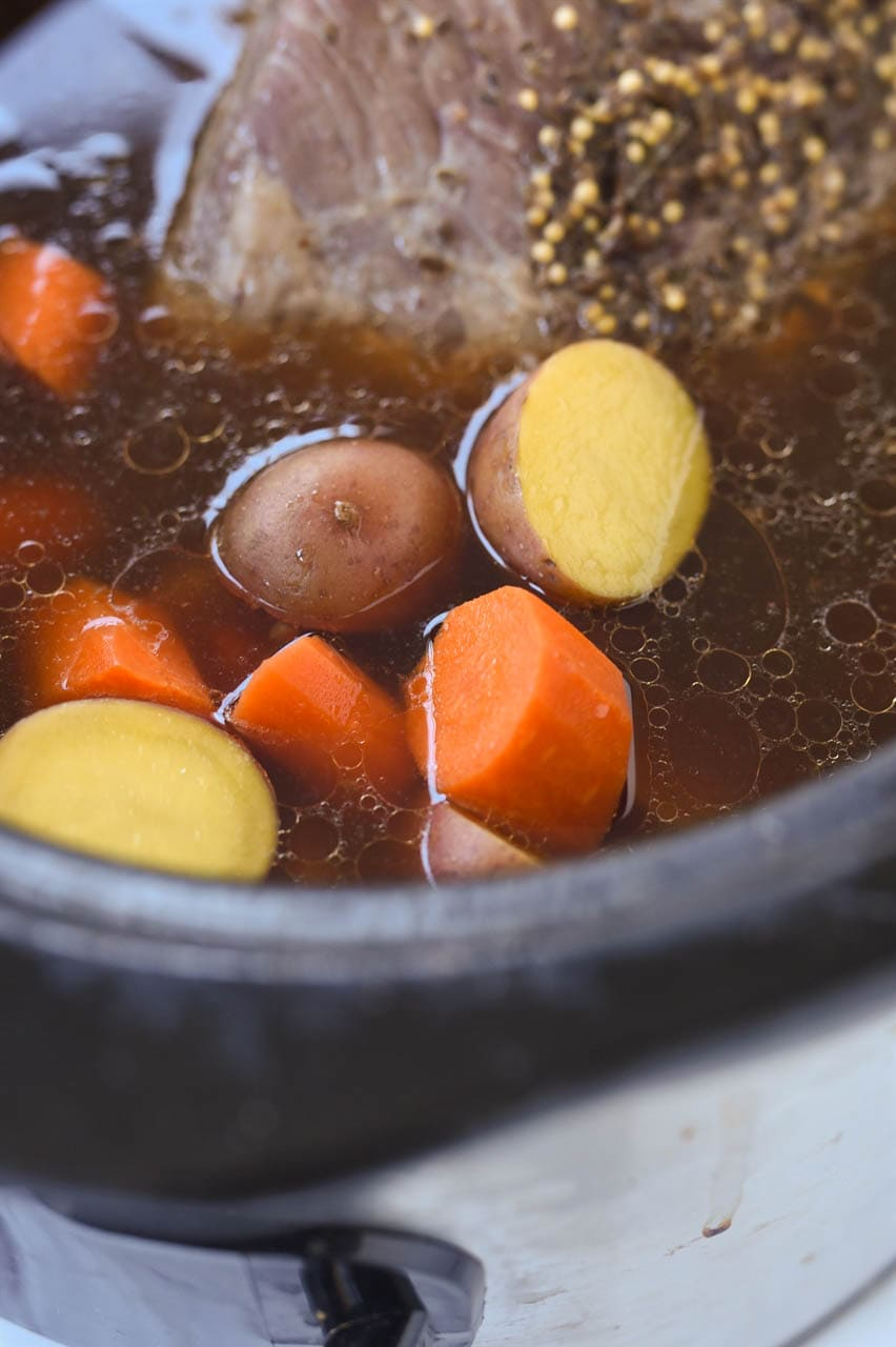 carrots and potatoes with corned beef