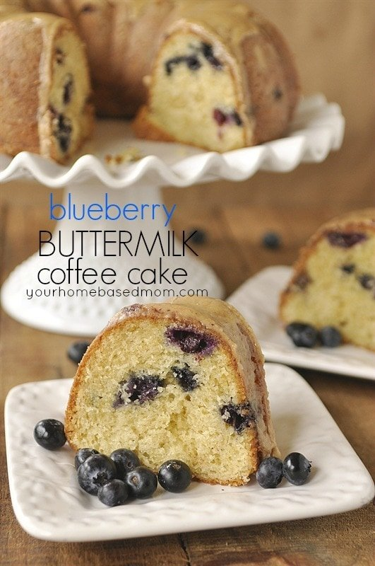 blueberry coffee cake on a palte.
